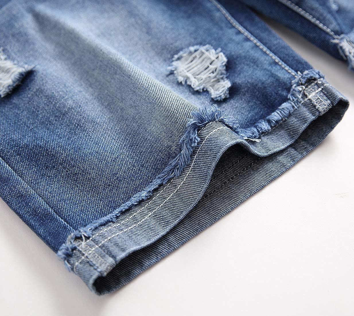 Shorts Jeans Strappati con Elastico in Vita LAUSONS Pantaloncini Jeans Bambini e Ragazzi Pantaloni Corti Estivi Ragazzo