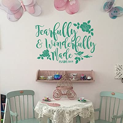 "BATTOO Fearfully and Wonderfully Made Decal Bible Verse Vinyl Wall Decal Scripture Wall Decal Nursery Decal for Girls Boys Bedroom Vinyl Wall Decal, 22"" W by 16"" H Teal: Home & Kitchen"