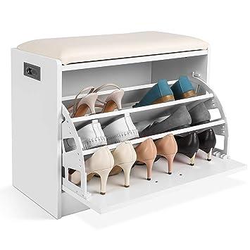 Homfa étagère à Chaussures 3 Niveaux Meuble Banc De Rangement Chaussure Et Salle De Bain Siège Tabouret Pour Chausser Banquette Blanc