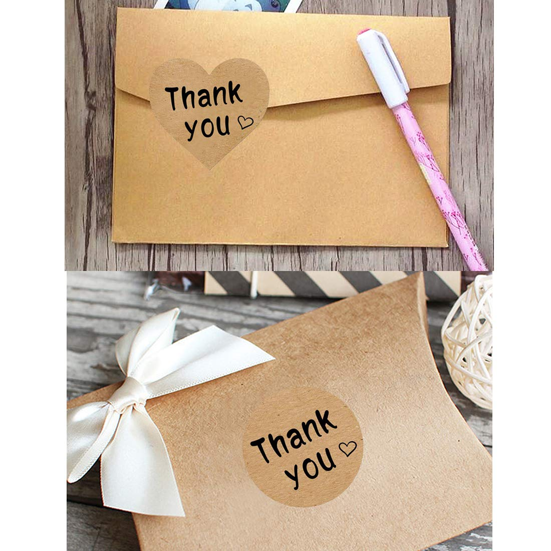 Thank You Stickers Roll 1000pcs Adhesive Labels Kraft Paper with Black Hearts, Decorative Sealing Stickers for Christmas Gifts, Wedding, Party by Vinkki (Image #5)