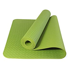 """DynActive Fitness Yoga Mat by DynActive- 1/4"""" (7mm) Thick Premium Non Slip"""