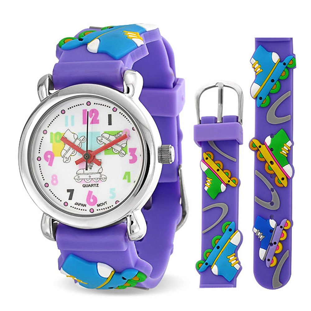Bling Jewelry Purple Analog Roller Skating Kids Watch Stainless Steel Back