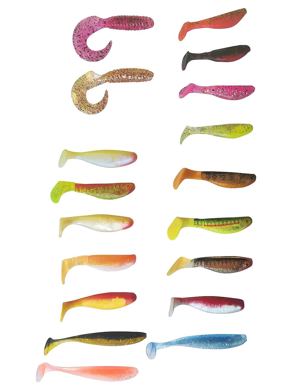 11cm Angelset Fishing Set Lures Ideales Raubfisch Angelzubeh/ör K/öder zum Angeln von Barsch Zander Hecht Forelle und D/öbel Angel Zubeh/ör 7cm 31 St/ück Gummifisch /& Twister Wundert/üte Relax Kopyto