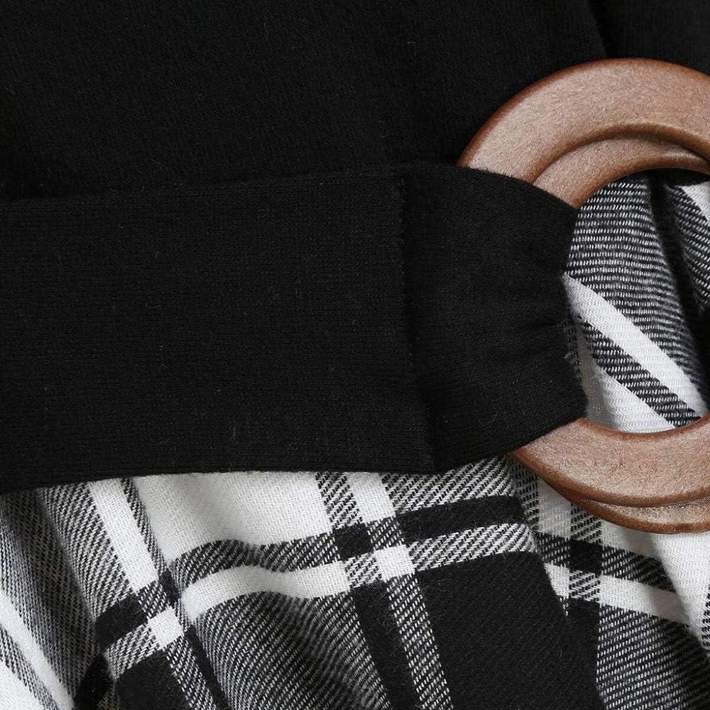 YEBIRAL Damen 50s Vintage Rockabilly Kleid Langarm Abendkleid Frauen Kariert Ungerader Saum Weihnachten Kleider Party Cosplay Kost/üm Gothic Punk Mittelalter Schulterfrei Cocktailkleid