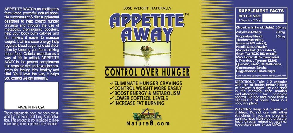 APPETITE AWAY Appetite Suppressant Weight Loss Supplement - 30 Caps - 4 Pack
