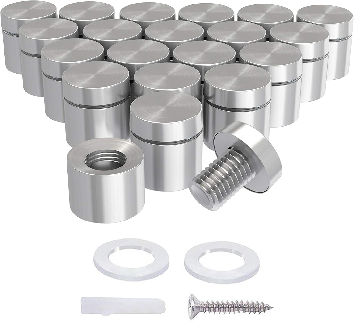 Standoffs for Glass Sign Stainless Steel Standoff Holder Mounts Hardware with Screws and Anchors 12 Pcs URBEST