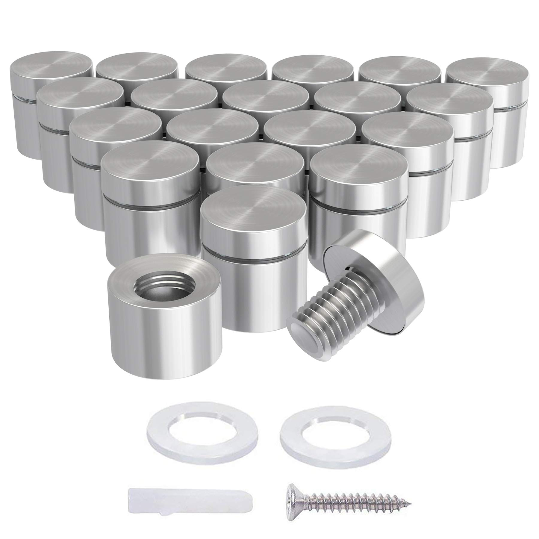 Acrylic Standoff Mounting Hardware Plexiglass Picture Stainless Steel Standoffs for Glass Panel LuckIn 20 Pack Sign Standoff Screws 1 x 1-1//5 in