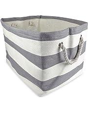 DII Woven Paper Textured - Cesta de almacenamiento, plegable y conveniente para oficina, dormitorio, armario, juguetes, lavandería, Gris (Gray Rugby Stripe), M