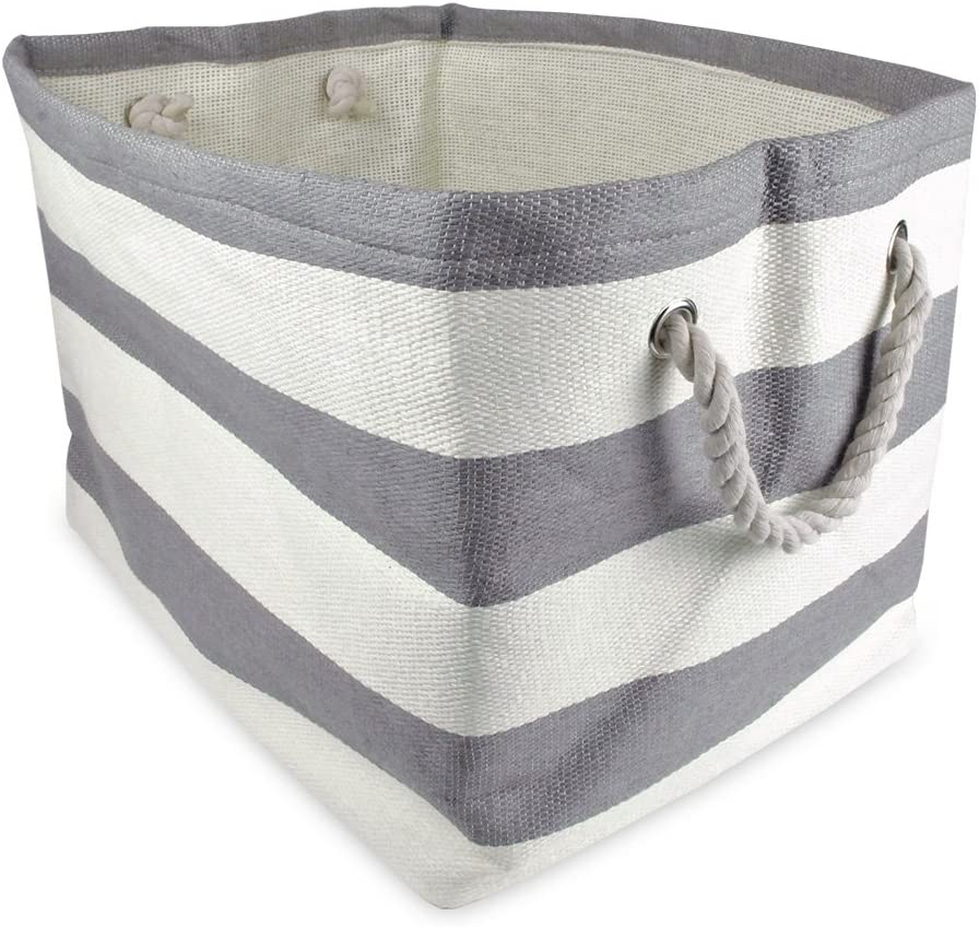 """DII Oversize Woven Paper Storage Basket or Bin, Collapsible & Convenient Home Organization Solution for Office, Bedroom, Closet, Toys, & Laundry (Medium – 15x14x10""""), Gray Rugby Stripe"""