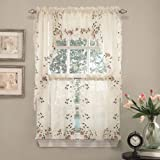 English Garden Floral White Jacquard Kitchen Curtains Tier Valance or Swag