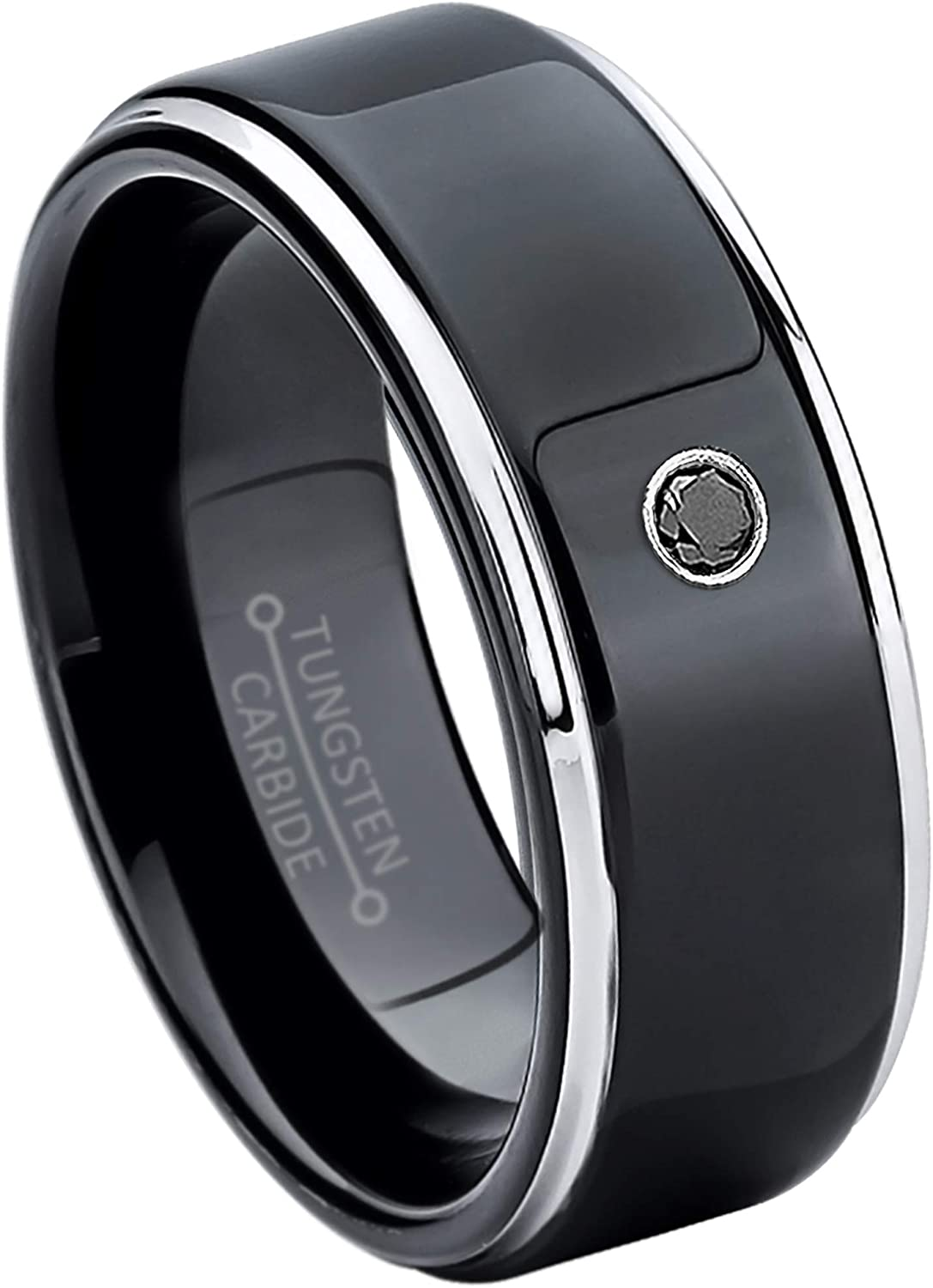 April Birthstone Ring 6MM Comfort Fit Brushed 2-Tone Black /& Rose Gold Stepped Edge Tungsten Carbide Wedding Band Jewelry Avalanche 0.07ct Black Diamond Tungsten Ring