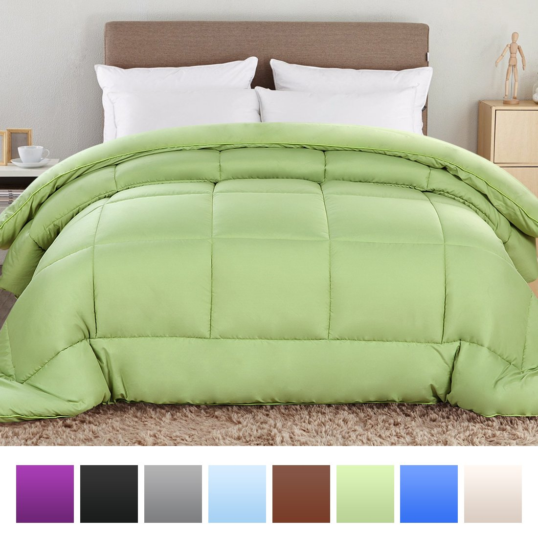 Balichun Summer Hotel Collection 1500 Series - Luxury Duvet Insert Goose Down Alternative Quilted Comforter Light Green