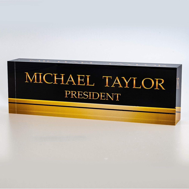 "Artblox Office Desk Name Plate Personalized | Custom Name Plates for Desks on Acrylic Glass Decor | Office Desk Decor Nameplate | Desk Accessories | Black Gold Stripe - (8""x2.5"")"