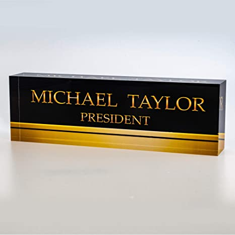 Artblox Office Desk Name Plate Personalized Printed On Premium Clear Acrylic Glass Block Unique Designer Name Plates For Desks Accessories