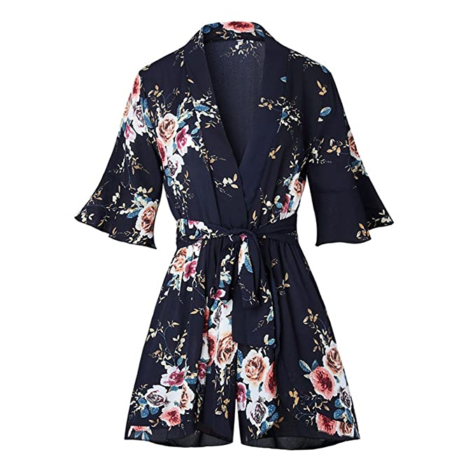 cfe5697fe5 Red Floral Print Ruffles Playsuits Women Elegant Autumn White V Neck  Jumpsuits Rompers Sexy Beach Girl