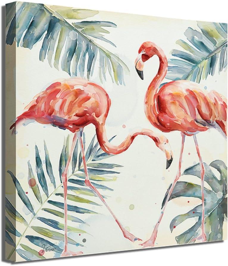 "BEAUTIFUL BIRD ART ~ CANVAS PRINT  24x16/"" ~ Pink Flamingo Watercolor"