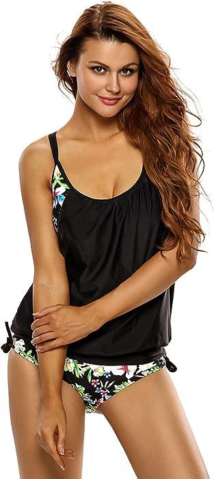 c91c19759 Womens Swimwear Layered Style Lined up Tankini Two Piece Set Bikini Swimsuit