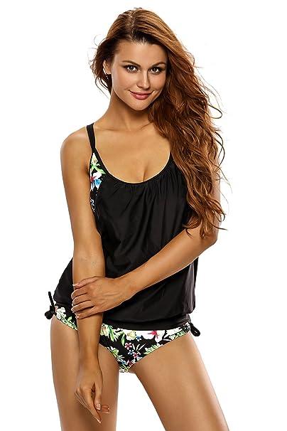 45886f928b Women's Tankini Set Two Piece Floral Swimming Costume Wireless Swimwear:  Amazon.co.uk: Clothing