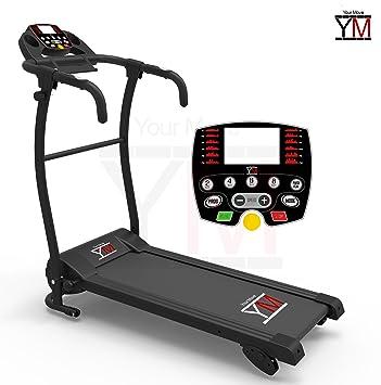 YM - Cinta de correr eléctrica plegable con sensor cardíaco, 1500 W, 2,