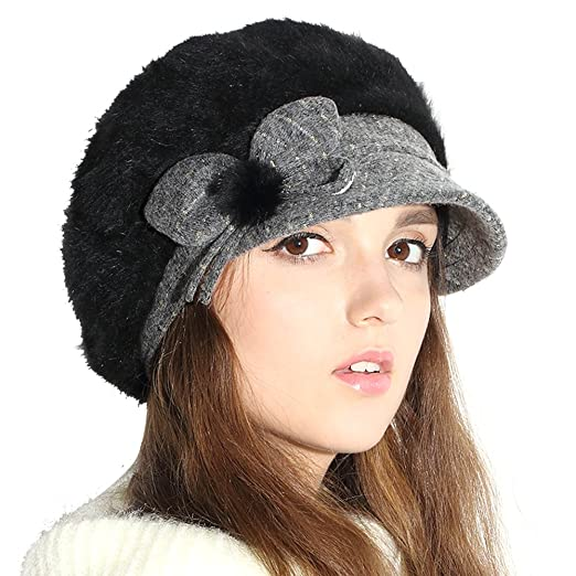 edce3962171 Jemis Women s Wool Winter Hat Knitting Skull Hat With Visor (Black ...