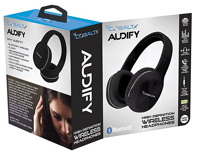 Amazon.com: COBALTX AUDIFY Bluetooth Wireless Rechargeable Headphones Range 30 Ft (10m) High Performance Acoustic Sound with Voice Control & 300 Hour ...