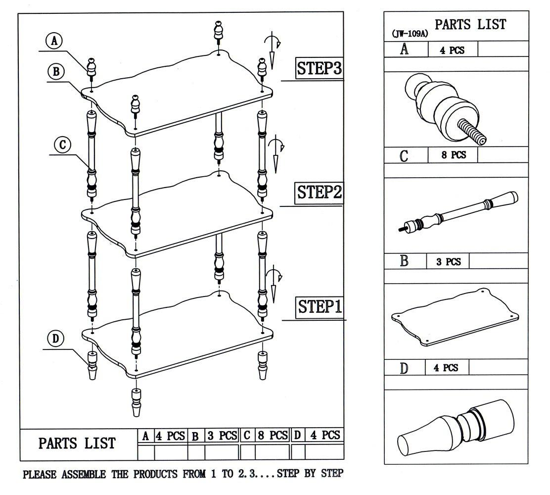 Frenchi Home Furnishing 3-Tier Shelves, White