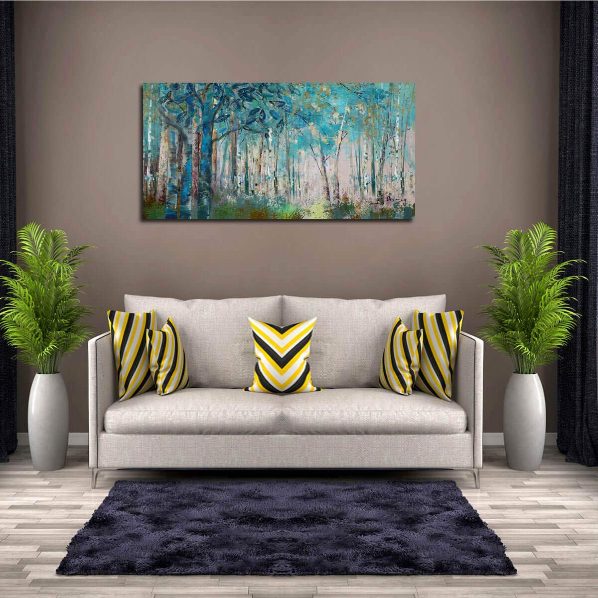 Ardemy Canvas Wall Art Blue Tree Forest Landscape Picture Prints, Modern Birch Trees Nature Woods Abstract Painting Artwork Extra Large Framed for Home Office Living Room Bedroom Decor, 60 x30