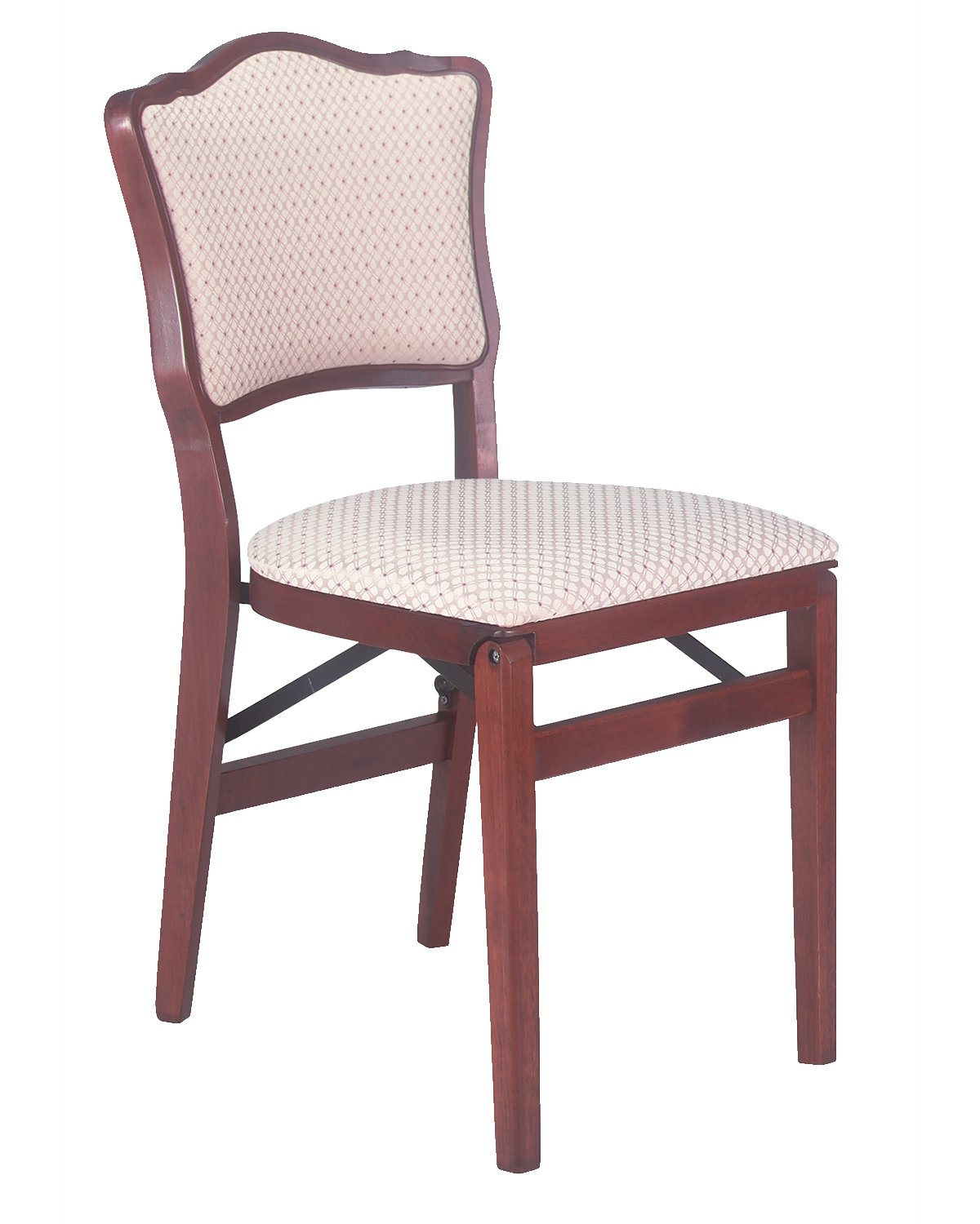 Stakmore French Upholstered Back Folding Chair Finish, Set of 2, Cherry