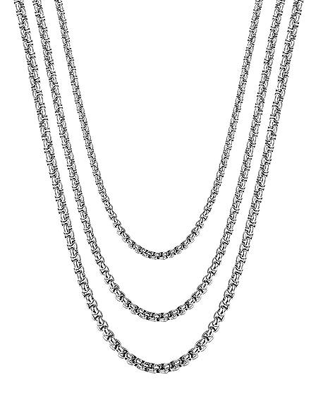 Besteel 3Piezas 2-4MM Acero Inoxidable Collar para Hombre Mujer Unisex Cadena Rolo Collar, 46-71CM