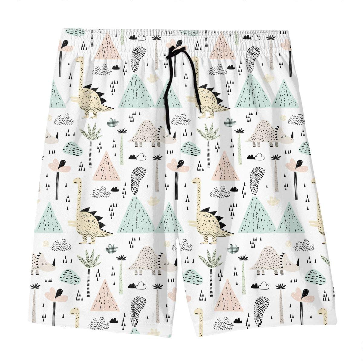 Polyester Bungalow Volcano Dinosaurs Tropical Plants Pattern Swimsuit with Pockets GI80@KU Youth 3D Printed Beach Shorts