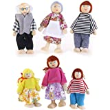NUOLUX 6Pcs Family Dolls Playset Wooden Figures Set for Children House Pretend Gift Random Color