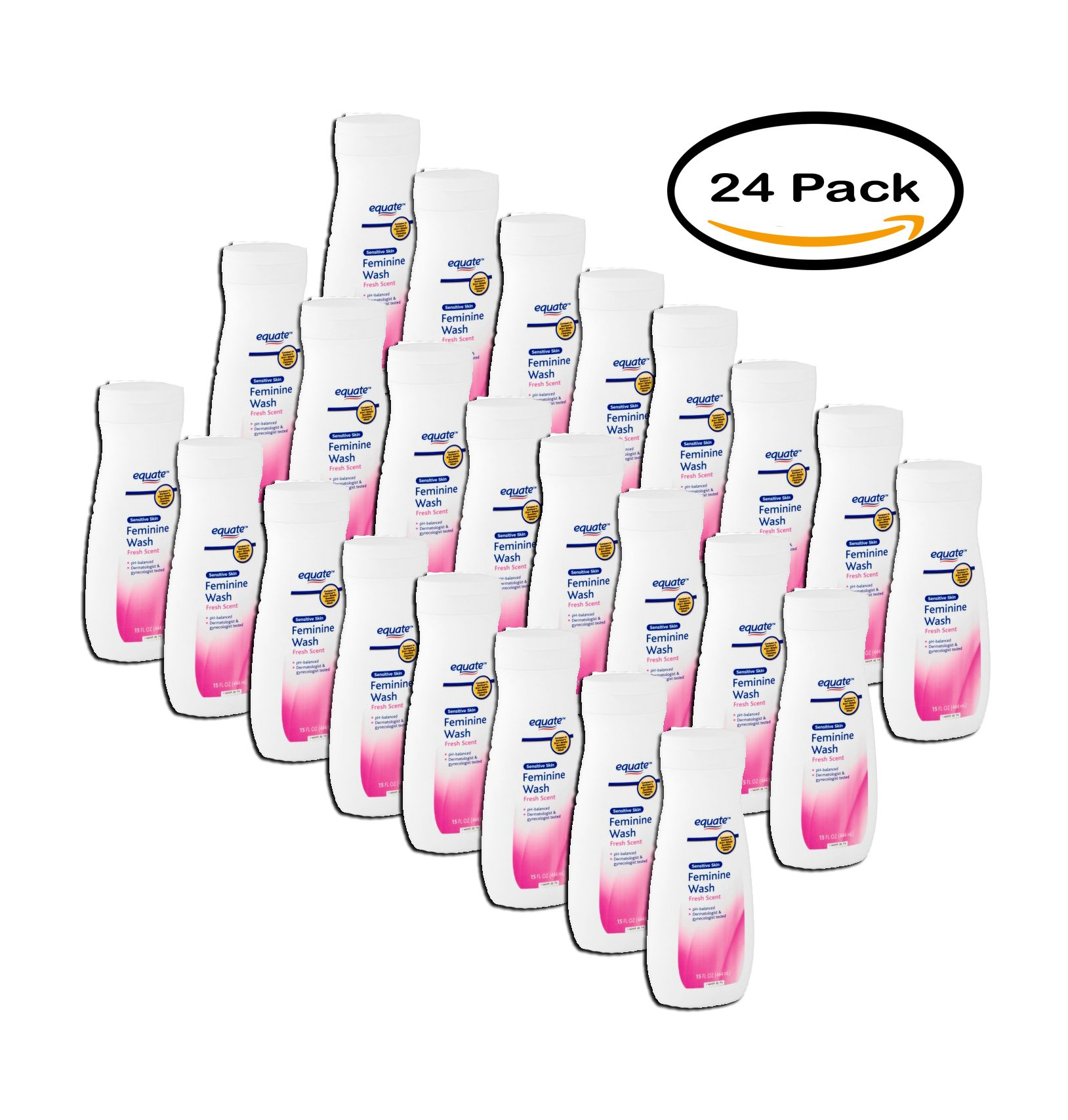 PACK OF 24 - Equate Sensitive Skin Fresh Scent Feminine Wash, 15 fl oz