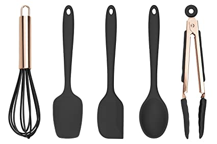 Cook With Color Set Of Five Black And Rose Gold Silicone Mini Kitchen Utensil Set