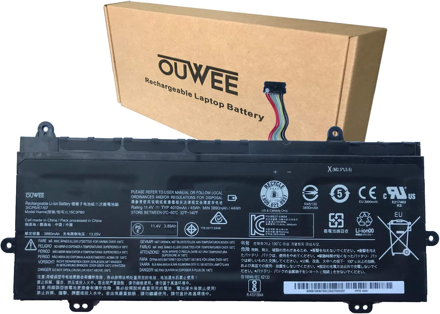 OUWEE L15C3PB0 Laptop Battery Compatible with Lenovo 100e Winbook/300e Winbook/N22 N23 Winbook Series Notebook L15M3PB2 5B10K90780 5B10K90783 11.4V 45Wh 3890mAh