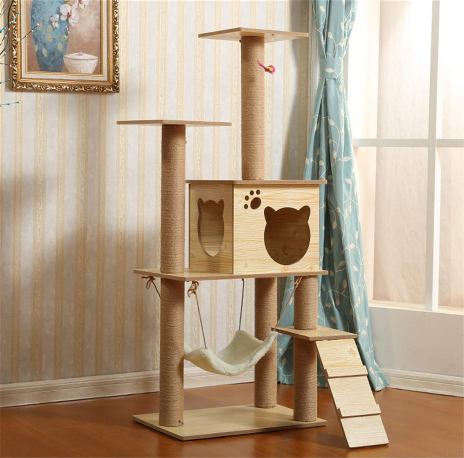 B UNIQUE-F Large Cat Tree And Grab Column Activity Center 135 Cm   3 Platforms   2 Caves Selected Wood Securely 2 Styles
