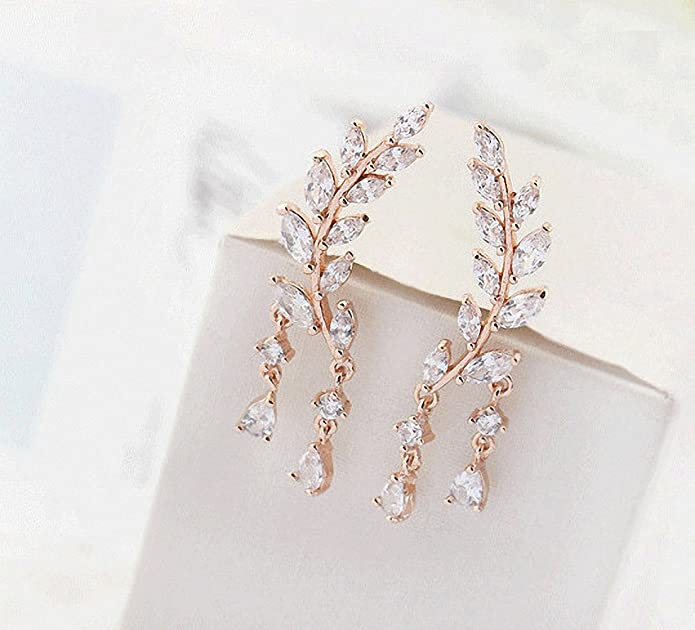 sanfnee Faux Pearl Earrings Cubic Zircon Crystal Long Chain Tassel Stud Earrings for women