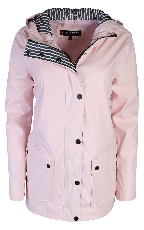 36953fafb887 Amazon.com  Urban Republic Women s Lightweight Hooded Raincoat ...
