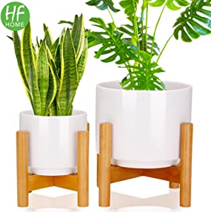 Set 2 Mid Century Modern Ceramic Plant Stand with 7 Inch & 5 Inch Diameter Plant Pots Indoor, Round White Standing Planters with Drainage and Plug, Outdoor White Garden Cactus Planters