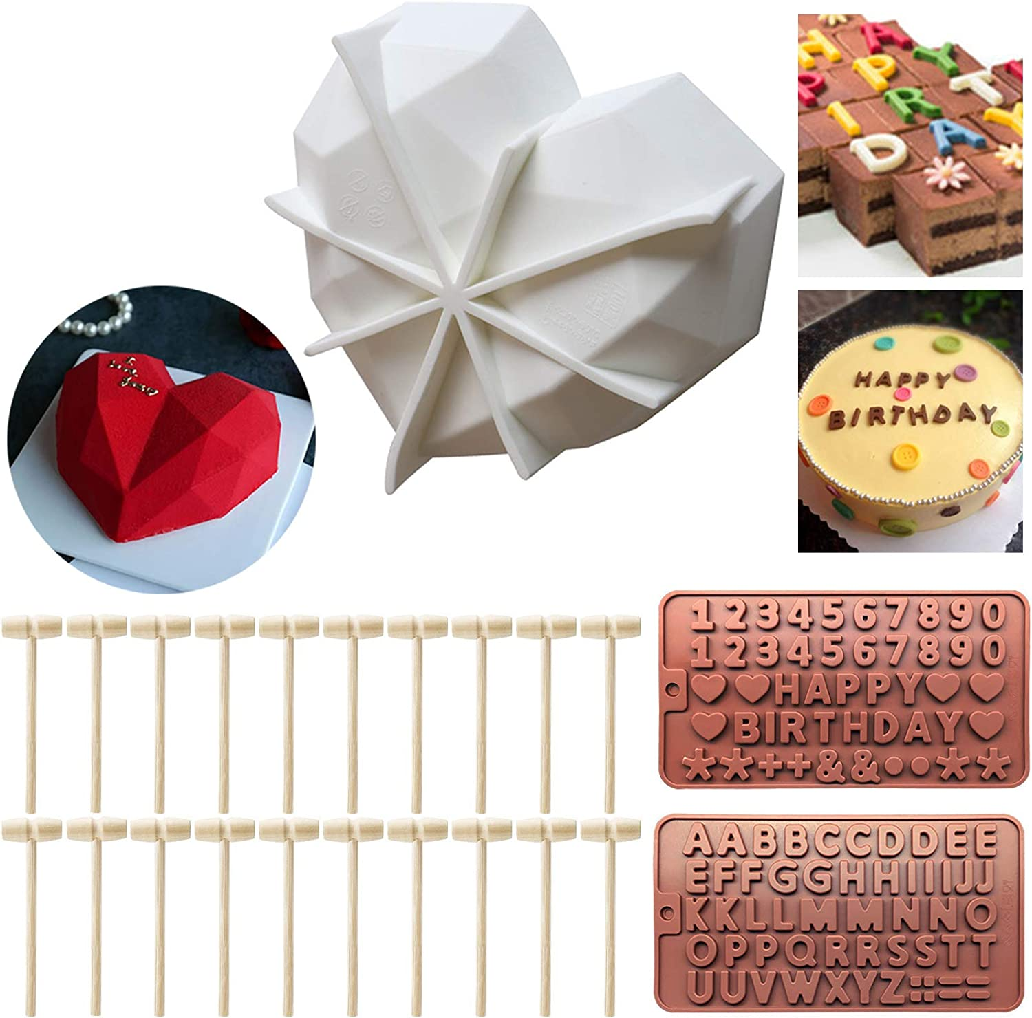 Diamond Heart Mousse Cake Mold Trays Chocolate Love Shape Molds, 2 Pcs Silicone Letter Number Molds with 20 Pieces Wooden Hammers Mallet Pounding Toy Silicone Baking Pan-Food Grade & BPA Free
