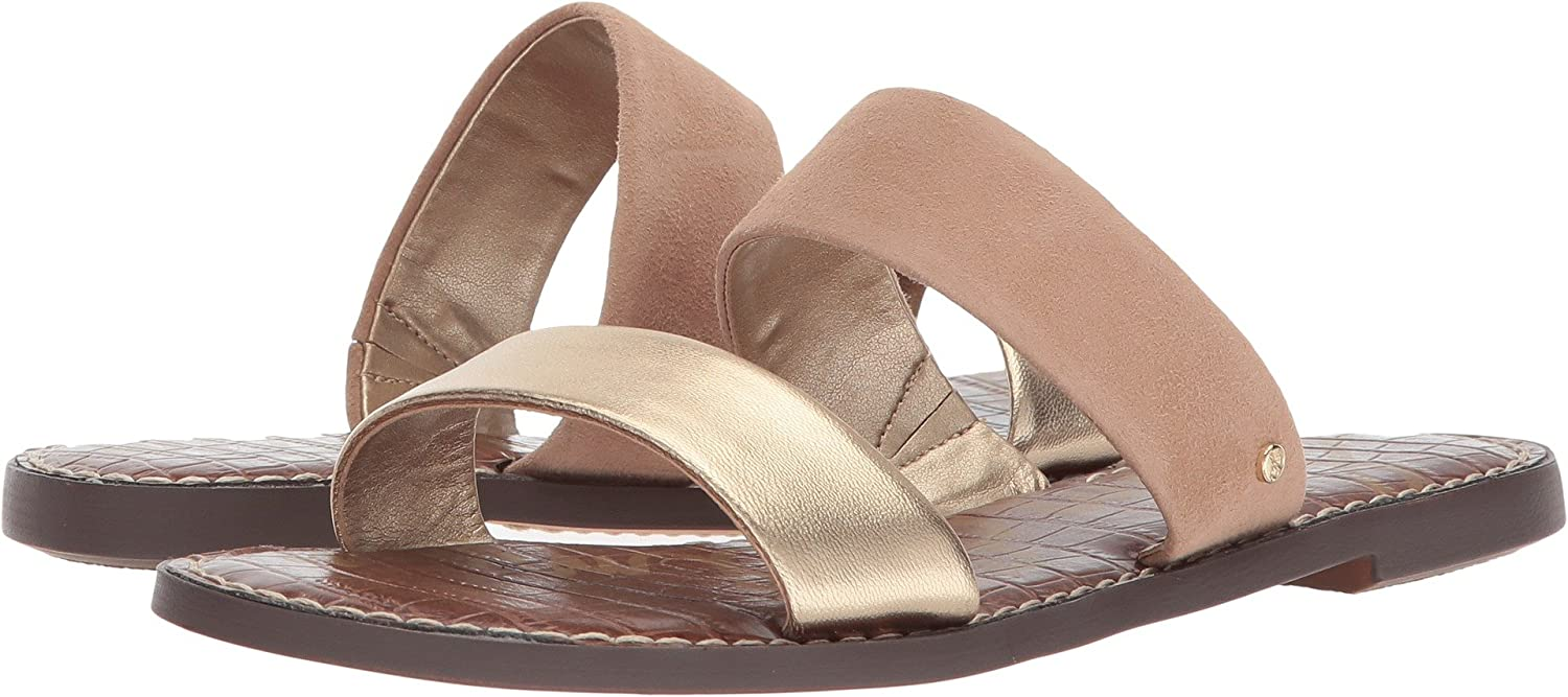 Sam Edelman Women's Gala Slide Sandal B0767GPH97 6.5 B(M) US|Gold/Nude Metallic Leather/Kid Suede Leather