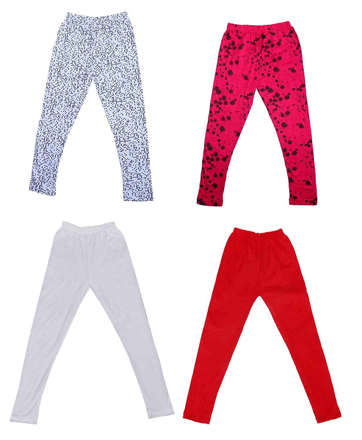 Pack Of 4 and 2 Cotton Printed Legging Pants Indistar Girls 2 Cotton Solid Legging Pants /_Multicolor/_Size-4-5 Years/_71403042021-IW-P4-26