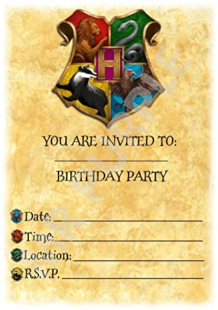 Harry Potter Birthday Party Invites Hogwarts Colourful Crest Theme