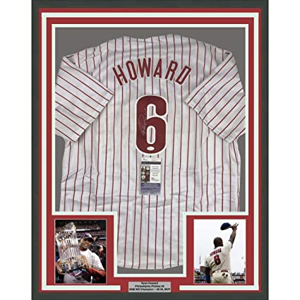 new concept 62813 9f56d Signed Ryan Howard Jersey - FRAMED 33x42 06 MVP Pinstripe ...