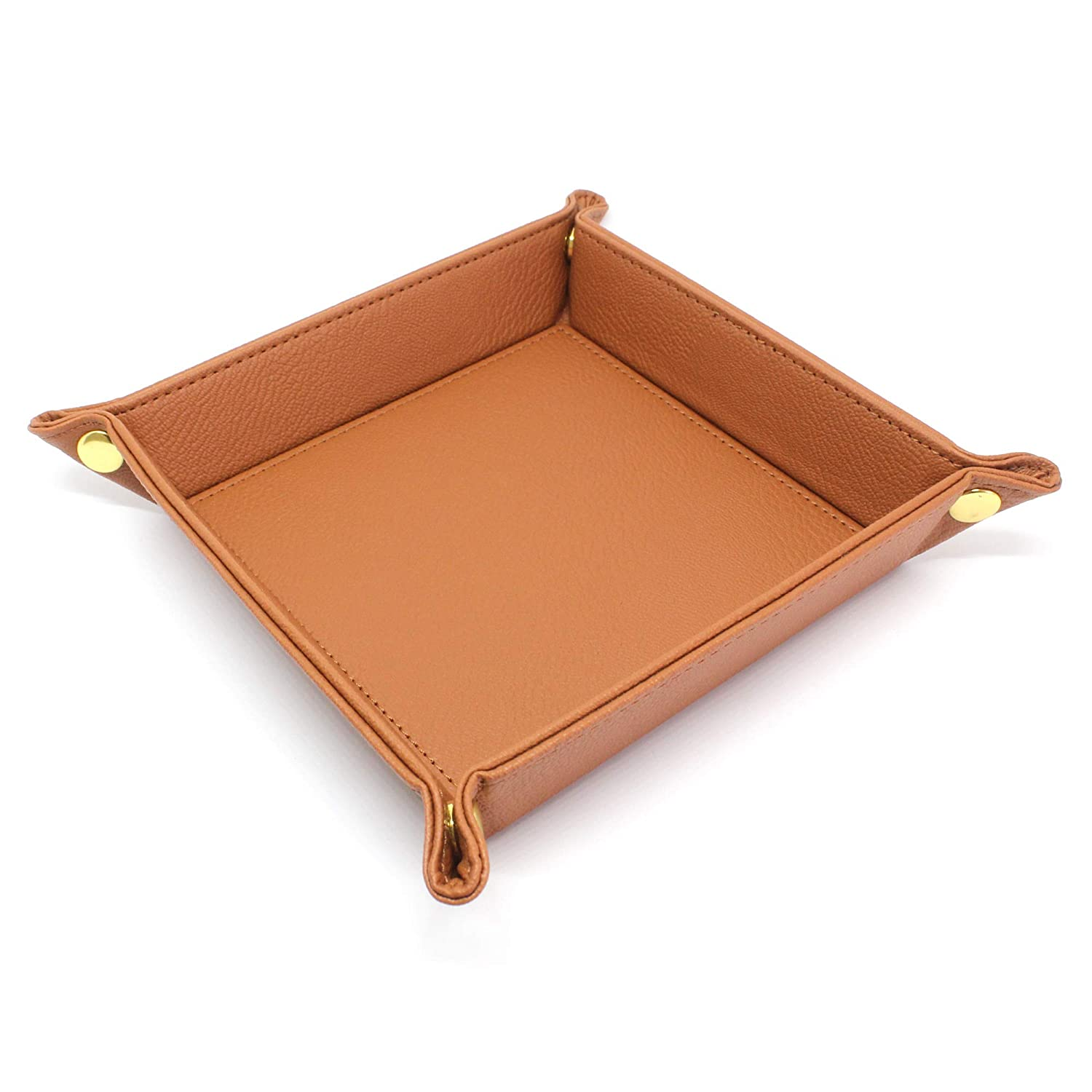 elmina Valet Tray for Men and Woman – Faux Leather Catchall Snap Jewellery Bedside Storage Organizer for Keys, Coins, Dice, Watch Tan Brown