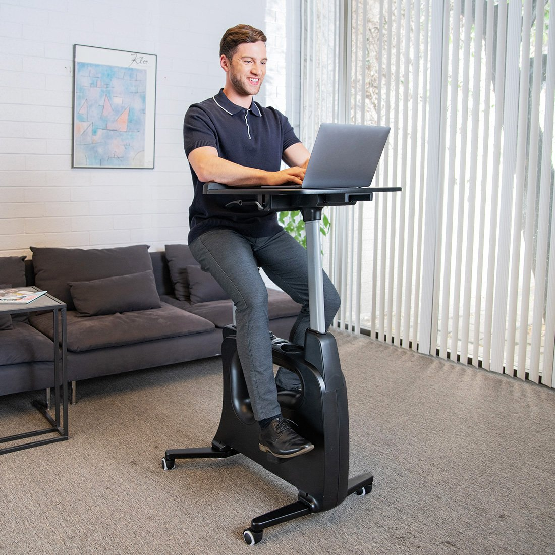 FLEXISPOT Home Office Upright Stationary Fitness Exercise Cycling Bike Height Adjustable Standing Desk - Deskcise Pro Black by FLEXISPOT (Image #2)