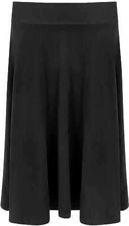WearAll - Femmes Longue Daim Regardez Genou Longueur Étendue Évasée Dames  Jupe - Noir - 42 52116b7cf99b