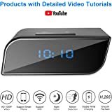 Spy Hidden Camera, Fettian WIFI Wireless Covert Alarm Clock Camera HD 1080P Wide-angle Nanny Cam Audio&Video Recorder Supported Mobile Phone Remote Control Real-time Monitoring with Motion Detection, Night Vision, Alarm Push, Multi-person Sharing for Home Office Security Indoor
