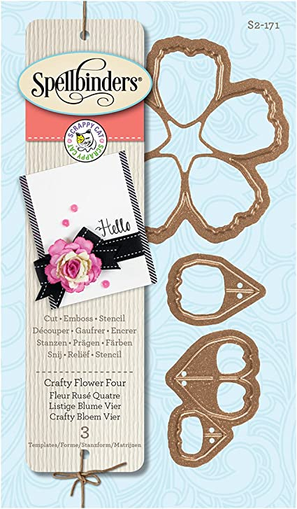 SPELLBINDERS SCRAPPY CAT CRAFTY FLOWER 4 FOUR ETCHED DIE CUTTING SET CUT S2-171
