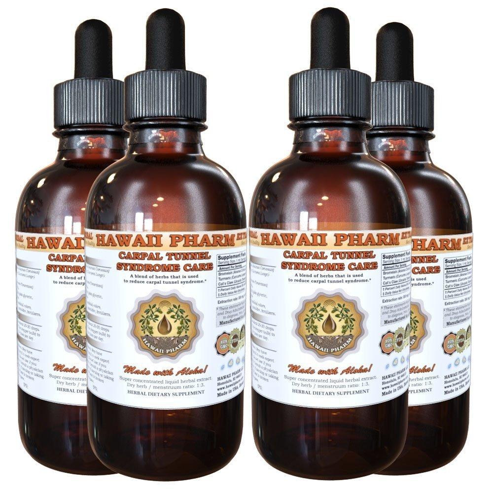 Carpal Tunnel Syndrome Care Liquid Extract, Bromelain (Ananas Comosus) Powder, Turmeric (Curcuma Longa) Root, Cat's Claw (Uncaria Tomentosa) Inner Bark Tincture Supplement 4x4 oz
