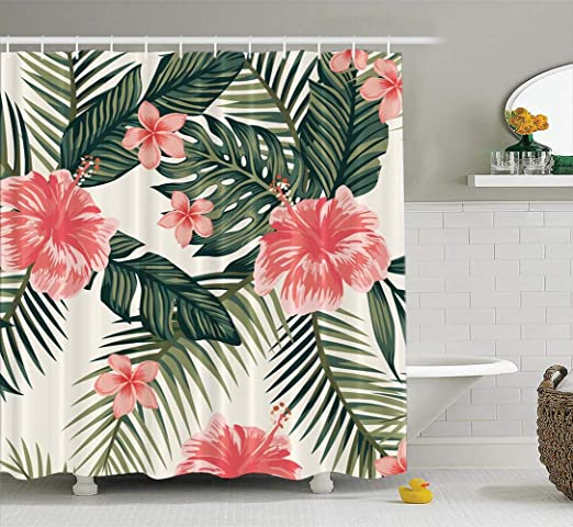 "Exotic Watercolor Cactus Floral Bathroom Shower Curtain Set 60x72/"" Hot"